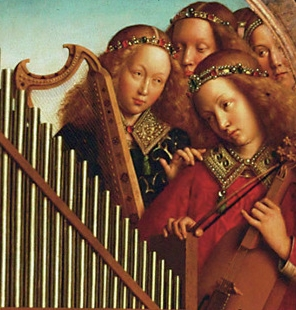 angelic musicians depicted on the Ghent Altarpiece