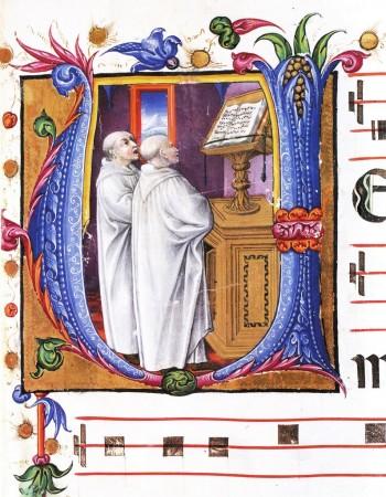 monks singing, choir book miniature