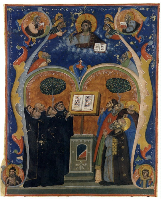 Initial A with Singing Monks and Saints - Bologna, ca 1320, Augustinian antiphonary