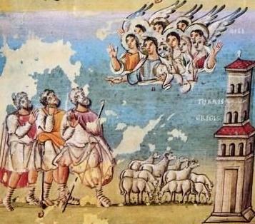 Annunciation to the Shepherds (Codex Egberti, Trier, 10th century)