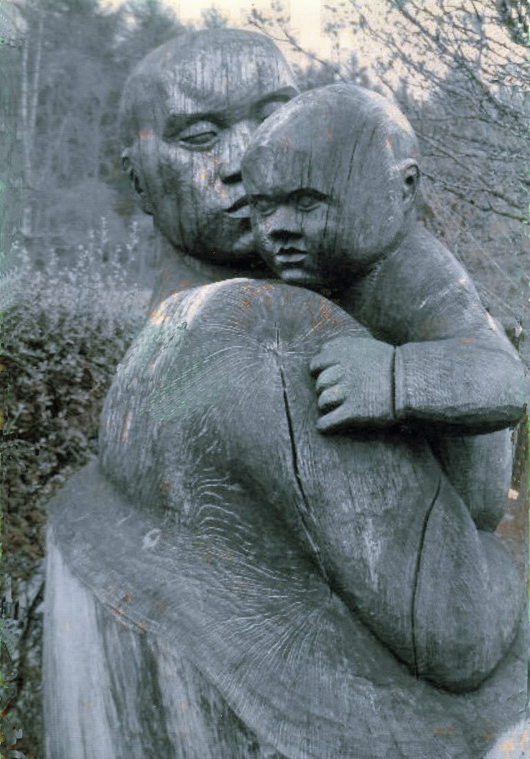 scultpure of mother and child, Scottish highlands
