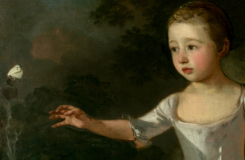 Gainsborough The Painter's Daughters chasing a Butterfly 1756 - detail